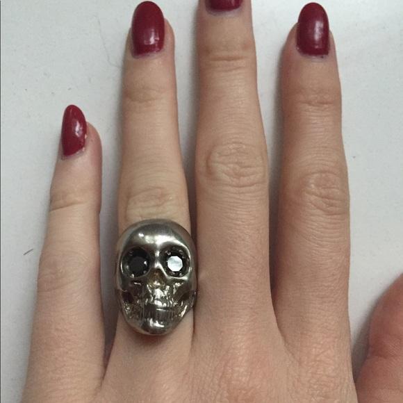 Jewelry | Aged Silver Skull Ring With Black Jewel Eyes | Poshmark